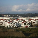 A general view shows the Olympic Village constructed for the 2014 Winter Olympic Games, on the edge of the Black Sea in Sochi